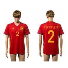 European Cup 2016 Spain home 2 Azpilicueta red AAA+ soccer jerseys