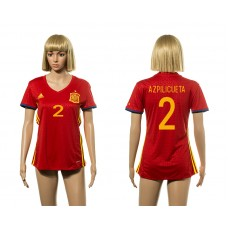 European Cup 2016 Spain home 2 Azpilicueta red Women soccer jerseys