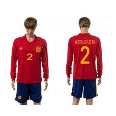 European Cup 2016 Spain home 2 Azpiliueta red long sleeve soccer jerseys
