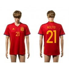 European Cup 2016 Spain home 21 Nolito Red AAA+ soccer jerseys