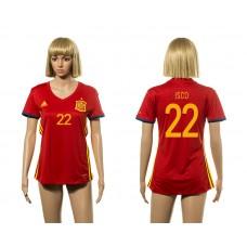 European Cup 2016 Spain home 22 Isco red Women soccer jerseys