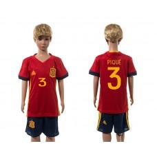 European Cup 2016 Spain home 3 Pique red kids soccer jerseys