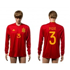 European Cup 2016 Spain home 3 Pique red long sleeve AAA+ soccer jerseys