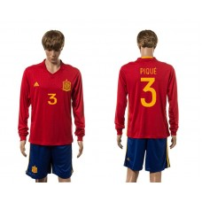 European Cup 2016 Spain home 3 Pique red long sleeve soccer jerseys
