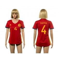 European Cup 2016 Spain home 4 Bartra red Women soccer jerseys