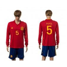 European Cup 2016 Spain home 5 Puyol red long sleeve soccer jerseys