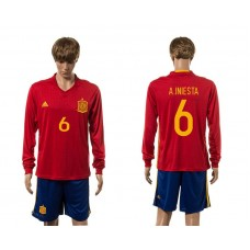 European Cup 2016 Spain home 6 A.Iniesta red  long sleeve soccer jerseys