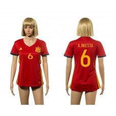 European Cup 2016 Spain home 6 A.Iniesta red Women soccer jerseys