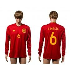 European Cup 2016 Spain home 6 A.Iniesta red long sleeve AAA soccer jerseys