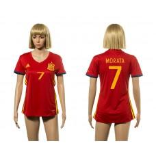 European Cup 2016 Spain home 7 Morata red Women soccer jerseys