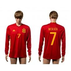 European Cup 2016 Spain home 7 Morata red long sleeve AAA+ soccer jerseys