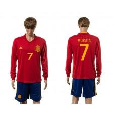 European Cup 2016 Spain home 7 Morata red long sleeve soccer jerseys