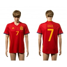 European Cup 2016 Spain home 7 Raul red AAA+ soccer jerseys