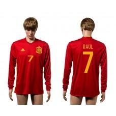 European Cup 2016 Spain home 7 Raul red long sleeve AAA+ soccer jerseys