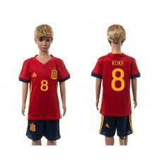 European Cup 2016 Spain home 8 Koke red kids soccer jerseys