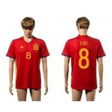 European Cup 2016 Spain home 8 Xavi red AAA soccer jerseys