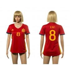 European Cup 2016 Spain home 8 Xavi red Women soccer jerseys