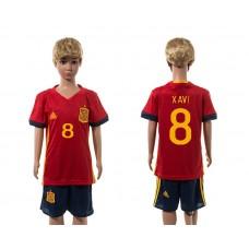 European Cup 2016 Spain home 8 Xavi red kids soccer jerseys