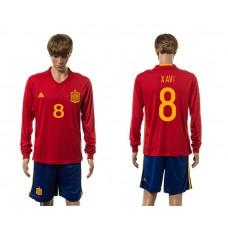 European Cup 2016 Spain home 8 Xavi red long sleeve soccer jerseys