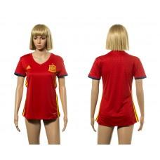European Cup 2016 Spain home Blank red Women soccer jerseys