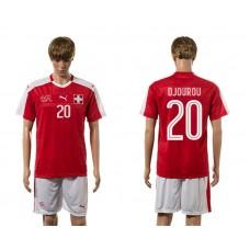 European Cup 2016 Switzerland home 20 Djourou red soccer jerseys