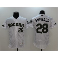 2017 Men MLB Colorado Rockies 28 Arenado White Elite Commemorative Edition Jerseys