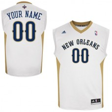 Men Adidas New Orleans Pelicans Custom Replica Home White NBA Jersey