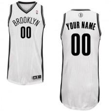Men Brooklyn Nets White Custom Authentic NBA Jersey