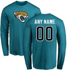 Men Jacksonville Jaguars NFL Pro Line Teal Custom Name and Number Logo Long Sleeve T-Shirt