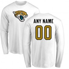 Men Jacksonville Jaguars NFL Pro Line White Custom Name and Number Logo Long Sleeve T-Shirt