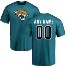 Men Jacksonville Jaguars Pro Line Teal Custom Name and Number Logo NFL T-Shirt