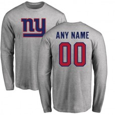 Men New York Giants NFL Pro Line Ash Custom Name and Number Logo Long Sleeve T-Shirt