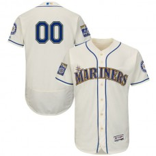 Men Seattle Mariners Majestic Alternate Cream 2017 Authentic Flex Base Custom MLB Jersey with Commemorative Patch