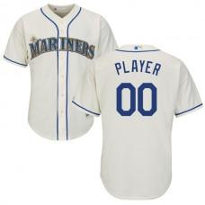 Men Seattle Mariners Majestic Cream Cool Base Custom MLB Jersey