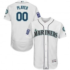 Men Seattle Mariners Majestic Home White 2017 Authentic Flex Base Custom MLB Jersey with Commemorative Patch
