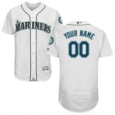Men Seattle Mariners Majestic Home White Flex Base Authentic Collection Custom MLB Jersey