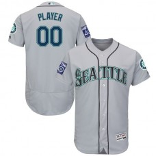 Men Seattle Mariners Majestic Road Gray 2017 Authentic Flex Base Custom MLB Jersey with Commemorative Patch