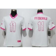 Women 2017 Arizona Cardinals 11 Fitzgerald Matthews White Pink Stitched New Nike Elite Rush Fashion NFL Jersey