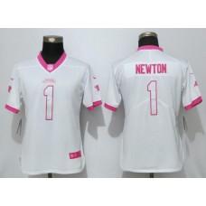 Women 2017 Carolina Panthers 1 Newton Matthews White Pink Stitched New Nike Elite Rush Fashion NFL Jersey
