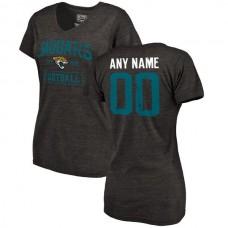 Women Black Jacksonville Jaguars Distressed Custom Name and Number Tri-Blend V-Neck NFL T-Shirt