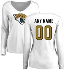 Women Jacksonville Jaguars NFL Pro Line White Custom Name and Number Logo Slim Fit Long Sleeve T-Shirt