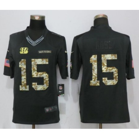 2017 NFL NEW Nike Cincinnati Bengals 15 Ross Anthracite Salute To Service Limited Jersey