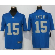 Men Detroit Lions 15 Tate lll Blue Throwback Retired Player Vapor Untouchable New Nike  Limited NFL Jersey