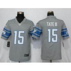Men Detroit Lions 15 Tate lll Steel Color Rush Gray New Nike Limited NFL Jersey