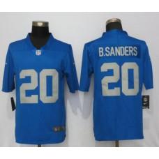 Men Detroit Lions 20 B.Sanders Blue Throwback Retired Player Vapor Untouchable New Nike Limited NFL Jersey