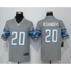 Men Detroit Lions 20 B.Sanders Steel Color Rush Gray New Nike Limited NFL Jersey