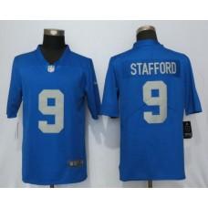 Men Detroit Lions 9 Stafford Blue Throwback Retired Player Vapor Untouchable Nike Limited NFL Jersey