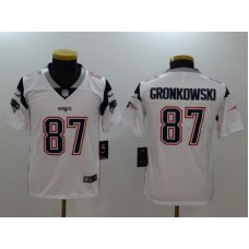 Youth New England Patriots 87 Gronkowski White Nike Vapor Untouchable Limited NFL Jerseys