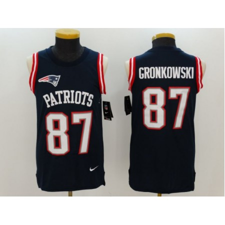 2017 Nike NFL New England Patriots 87 Gronkowski blue Men Stitched Limited Tank Top Jersey