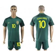 Men 2017-2018 National Brazil away 10 Ronaldinho soccer jersey
